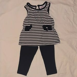 Girls 12mnth striped babydoll tank shirt & legging
